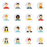 People icons set, flat style. People icons set. Flat illustration of 16 people vector icons for web Royalty Free Stock Photo