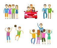 People icons set.  friends, nightclub, party or Royalty Free Stock Photos