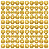 100 people icons set gold. 100 people icons set in gold circle isolated on white vector illustration vector illustration