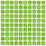 100 people icons set grunge green. 100 people icons set in grunge style green color isolated on white background vector illustration Stock Image