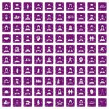 100 people icons set grunge purple. 100 people icons set in grunge style purple color isolated on white background vector illustration Royalty Free Stock Image