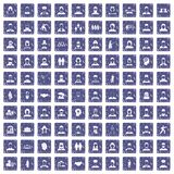 100 people icons set grunge sapphire. 100 people icons set in grunge style sapphire color isolated on white background vector illustration Royalty Free Stock Images