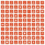 100 people icons set grunge orange. 100 people icons set in grunge style orange color isolated on white background vector illustration Royalty Free Stock Photos