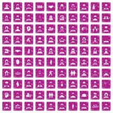 100 people icons set grunge pink. 100 people icons set in grunge style pink color isolated on white background vector illustration Stock Photography
