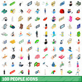 100 people icons set, isometric 3d style Stock Photo