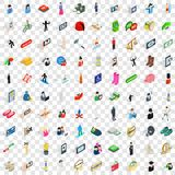 100 people icons set, isometric 3d style. 100 people icons set in isometric 3d style for any design vector illustration Stock Photography
