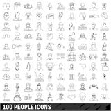 100 people icons set, outline style Royalty Free Stock Images