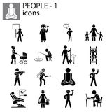 People icons set professions, actions, gestures Stock Images