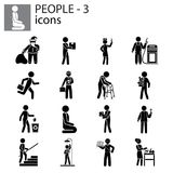 People icons set professions, actions, gestures Royalty Free Stock Photo