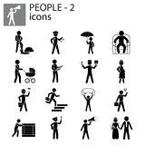 People icons set professions, actions, gestures Stock Photos