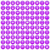 100 people icons set purple. 100 people icons set in purple circle isolated on white vector illustration stock illustration