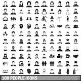 100 people icons set in simple style Stock Photo