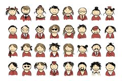 People icons sketch for your design Royalty Free Stock Photo