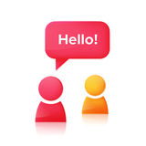People icons and speech bubble with text Hello. Two simple people figures with dialog speech bubble and text Hello. Chat room icon design concept. Vector Royalty Free Stock Photography