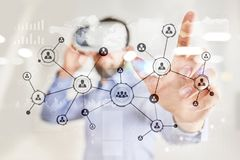 People icons structure Social network. HR. Human resources management. Business internet and technology concept. Royalty Free Stock Photo