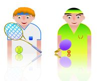 People icons tennis and ping pong Stock Photo