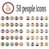 50 people icons. Of various nationalities in different styles Royalty Free Illustration
