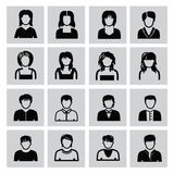 People icons. Vector black people icons set on gray Stock Photography