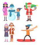 People Icons Winter Collection Vector Illustration. People icons, winter collection, family with snowman, Santa Claus with pine tree and gift, boy and girl with Stock Image