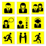 People icons. On a yellow background Royalty Free Stock Images