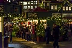 Christmas Market at Rathaus market square, Hamburg, Germany stock photography