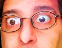 People Illustrated 004: Surprise. Digital painting of imaginary man being surprised. This painting is NOT painted over a photograph stock illustration
