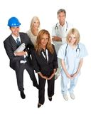 People illustrating different career options. Group of people illustrating different career options Royalty Free Stock Photos
