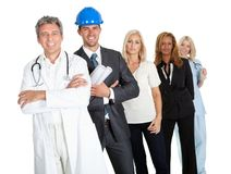 People illustrating different career options. Group of successful working people illustrating different career options on white Royalty Free Stock Photos
