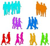 People illustrations. Illustrations of lots of people in couples and groups Royalty Free Stock Image