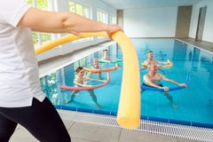 Free People In Aqua Fitness Class During A Physical Therapy Session Royalty Free Stock Image - 156496296