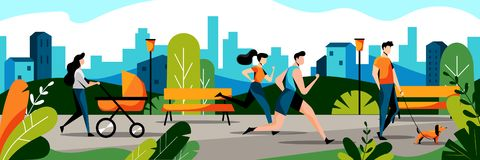 Free People In City Park. Vector Flat Illustration. Jogging Couple And Mom With Baby In Stroller Walks In Park Stock Photo - 144079120