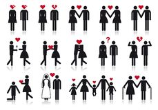 People In Love, Vector Icon Set Stock Image