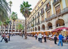 People In Placa Reial Off La Rambla (the Boulevard), Barcelona Stock Photo