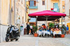 Free People In Street Restaurant In Cefalu Old Town Sicily Stock Photos - 111851583