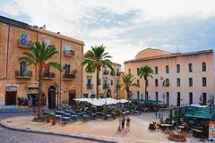 Free People In Street Restaurants In Cefalu Old Town Sicily Royalty Free Stock Images - 111851579