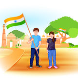 People with Indian flag Royalty Free Stock Photo