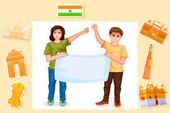 People with Indian flag Stock Images