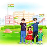 People with Indian flag Stock Image