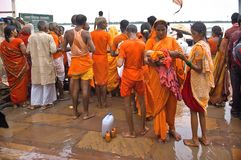 People Indian having fun while taking ritual bath in the Ganges River . Royalty Free Stock Photography
