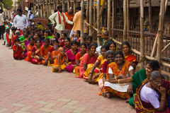 People at Indian streets. Indians waiting to enter Meenakshi Amman Temple (Madurai, Tamil Nadu, India Royalty Free Stock Photo