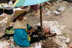 People from Indonesia, Woman selling vegetables Royalty Free Stock Photography