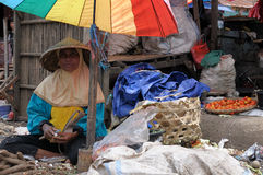 People from Indonesia, Woman selling vegetables Royalty Free Stock Photo