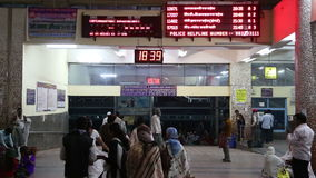 People at the indoors of train station in Mumbai. stock footage