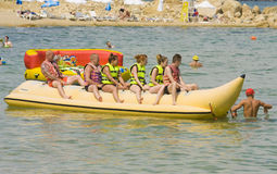 People on inflatable boat Royalty Free Stock Image