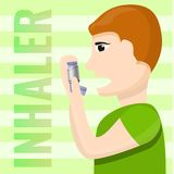 People inhaler use concept background, cartoon style vector illustration