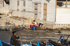 People on Inle lake. Stock Images