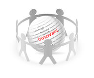 People and Innovation. Illustration of paper people around business innovation Stock Photos