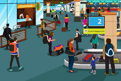 People Inside Airport Scene. A vector illustration of people inside the airport scene Royalty Free Stock Photography