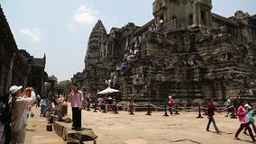 People inside Angkor Wat temple in Cambodia stock video