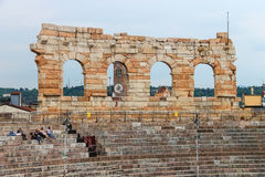 People inside Arena Verona - the place of annual festival operas Stock Images